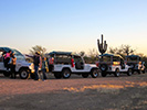 The jeep caravan arrives at our dinner location in the desert