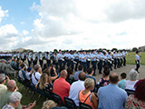 The graduating airmen pass in review