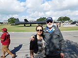 Wayne and Esperanza Miller pose in front of an SR-71