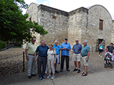 The group gathers at the Alamo