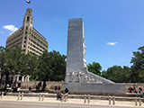 The Alamo Cenotaph monument commemorates the battle at the nearby mission