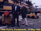 Alan 'Roy' Thomas & Rick Bolden in front of HMS Victory in Portsmouth.