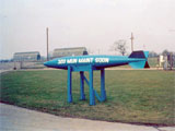 The old training bomb that served as our squadron sign. The alert area & Air Police kennel area in the background.