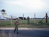 Steve Linebarger at Greenham Common with C-141 in background.