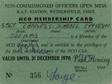 NCO Club Membership Card. Submitted by Chuck Schabel